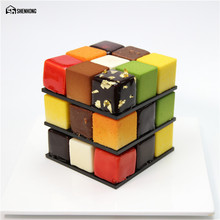 SHENHONG POP Rubik's Cube 3D Cake Moulds Aluminum alloy Mold Mousse For Ice Cream Chocolate Dessert Art Pan Bakeware Pastry(China)