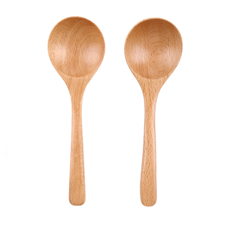 Large Wooden Soup Spoon Kitchen Long Handled Rice Spoon Wood Big Dinner Spoon Ladle Chinese Tablespoon Wooden Cutlery Tableware (2)