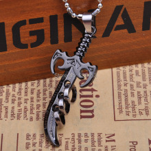 "2017 Mens Fashion Anime Black Sword Pendant Necklace 20"" Boys Gift M16 Free Shipping"