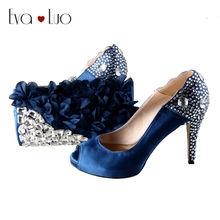 BS010  Navy Blue Rhinestones Petal African Shoes With Matching Bag Set Bridal Wedding Shoes Women Platform Dress Pumps Plus Size
