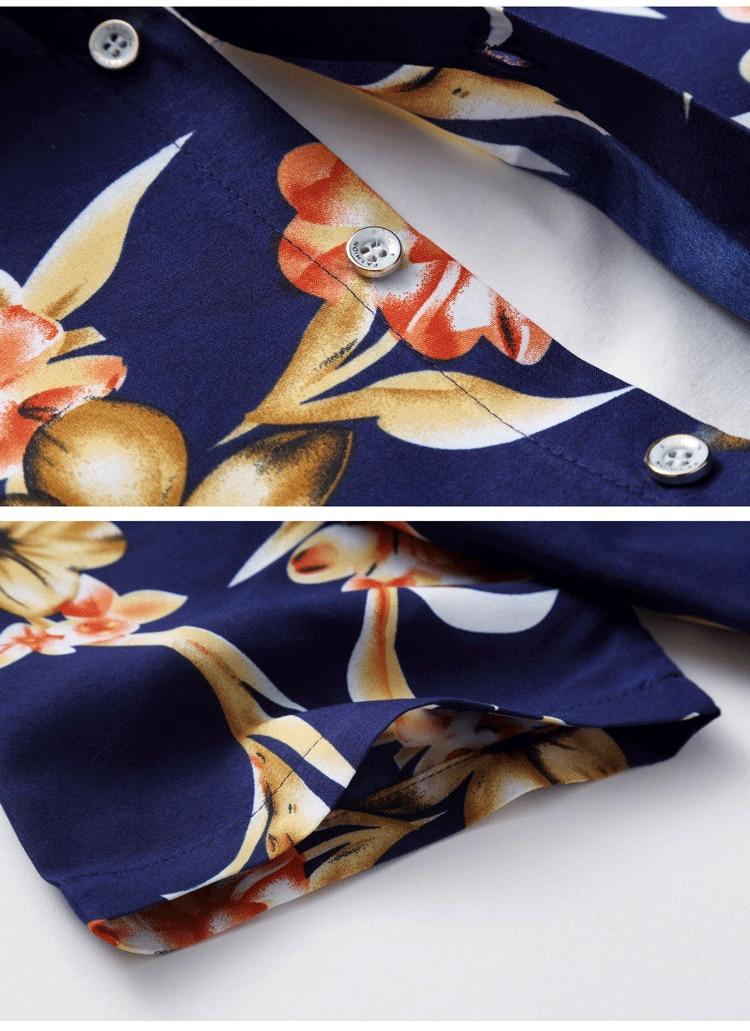 2018 Short Sleeve Mens Hawaiian Shirt Male Casual Camisa Masculina Flower Print Beach Summer Shirts Brand Clothing Men Plue Size 23