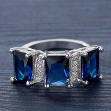 Fashion Women Crystal Rings 3 Even Blue Square Copper Crystal Wedding Party Jewelry Elegant Gift