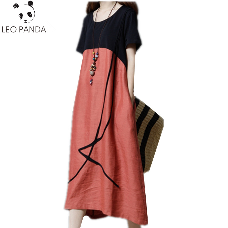 New Summer Women Dress 2018 Loose Large size Fashion Stitching Cotton linen Dress O-Neck Short sleeve Casual Clothing Clothes