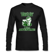 St. Patrick's Day Design Shirts Men Popular Good Selection I Don't Get Drunk I Get Awesome Tee 80s Diy XXXL t-shirt Adult graith(China)