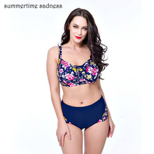 Ladies High Waist Bikinis Women 2017 Plus Size Monokini Floral Big Bust Swimwear Female Gather Push Up Bathing Suit Free Ship(China)