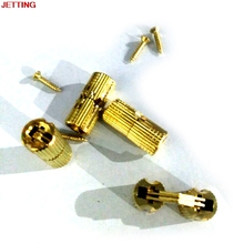 JETTING 4PCS Copper Barrel Hinges Cylindrical Hidden Cabinet Concealed Invisible Brass Hinges Mount For Furniture Hardware 8mm