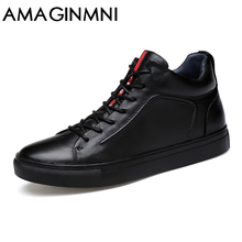AMAGINM Big Size Men Shoes High Quality Genuine Leather Men Ankle Boots Fashion Black Shoes Winter Men Boots Warm Shoes With Fur