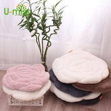 Buy 42*42cm /55*55cm pink plush rose chair seat cushion tatami mats warm floor cushion pad car mat chair for $20.66 in AliExpress store