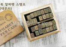 Retro Wooden Alphabet Stamp 28 Pieces Per Set Anglais Standardized Form Stamps Letters Seal + Wooden Box Gift For Kids(China)
