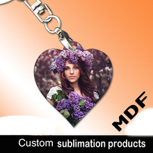 Sublimation blank material products keyring MDF key chain can printing photo custom personality gift for company advertising