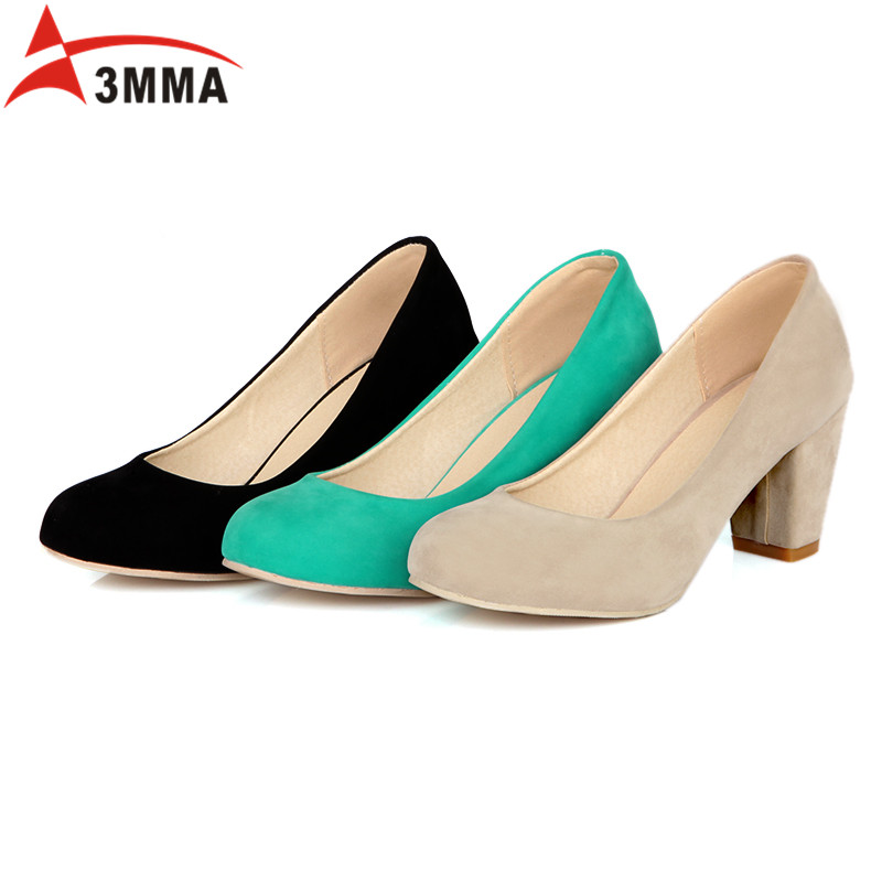3MMA 2017 Large Size Black Green Nude Suede Classic Heel High Shoes Sexy Pointed Toe Square High Heels Women Pumps Casual Shoes<br><br>Aliexpress