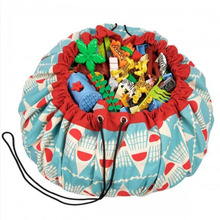 1.4M Large Toy Bag Carpet Cartoon Printed Mat Baby Game Blanket Toys Storage Canvas Portable Bags Kids Room Decoration Outdoor P