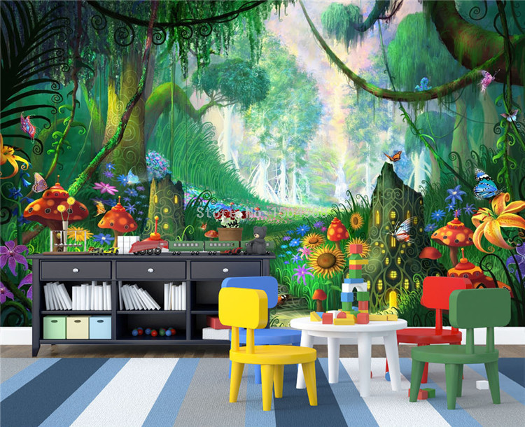 HTB16IctSpXXXXajXpXXq6xXFXXXl - Custom Mural Wallpaper 3D Cartoon Fairy Forest Mushroom Path Wall Painting Children Kids Bedroom Eco-Friendly Photo Wall Papers