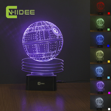 7 Colors Changing Death Star Night Light 3D Lamp USB Novelty as Home Decor Bedroom Table Lampara for Star WARS Fans(China)