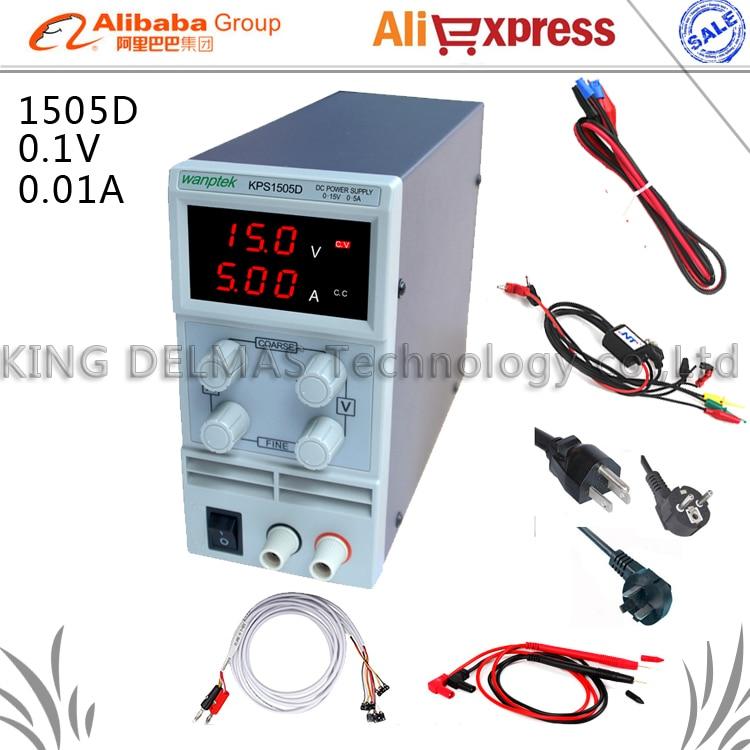 KPS-1505D Phone repair LED Display Adjustable DC Power Supply 110V-220V 0.1V/0.01A EU Plug+Probe/Repair power line...<br>