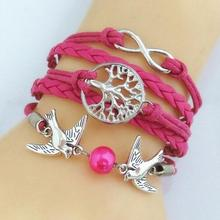 BONLAVIE 2017 NEW Fashion Cute Unique Silver Plated DIY Infinity Birds Tree Leather Cute Charm Bracelet