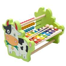 Children fifteen sound knock piano toy wooden puzzle 1-3 years old baby 8 tone aluminum knock musical toy educational(China)