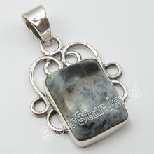 Unique Designed STAMPED Solid Silver REAL DENDRITIC Agates Pendant 1.3 Inch ! Brand New(China)