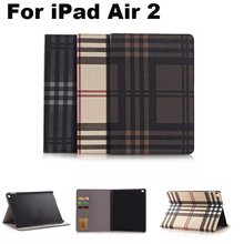 For Apple iPad Air 2 case Cover With Card Slots Business Plaid PU Leather Protective Skin Case Cover Tablet Accessories+gifts
