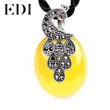 EDI 925 Sterling Silver Gemstone Pendants Necklace High Quality Yellow Gemstone Pendant Necklace Jewelry For Women(China)