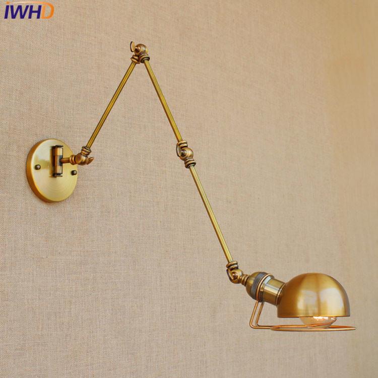 0eca64b0ba6b2 Loft Retro industrial Iron wall lamp LED with edison bulb E27 Long Arm Wall  lights for cafe hallway bedroom living room bar cafe - us730