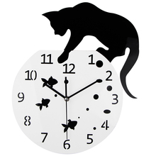 TiTa-Dong 3D Home Decor Acrylic Wall Clock Cat On The Fish Tank Fish/Paw Design Big Watch Quartz Clock Unique Gift(China)