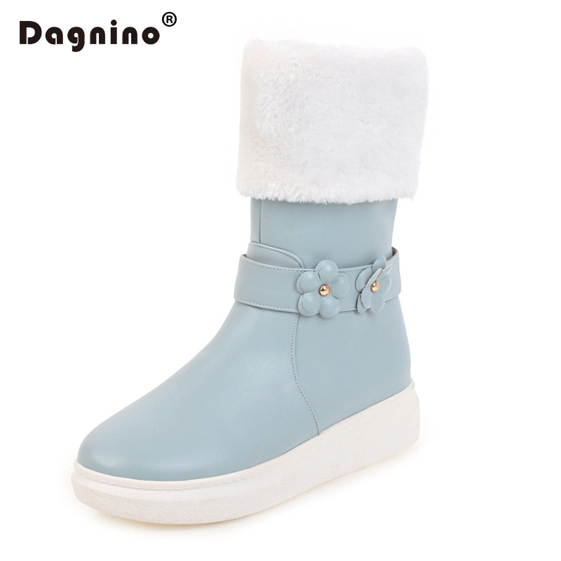 DAGNINO New Genuine Fashion Womens Ankle Snow Boots Waterproof 2017 HOT Flowers Mid-calf Flats Winter Warm Cashmere Wool Shoes <br>