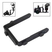 Wholesale 1/4 Hot Shoe Adapter camera flash bracket L bracket bilateral frame twin double L bracket L-bracket for Camera(China)