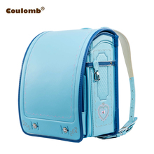 Coulomb Children School Bag For Boy And Girl Backpack PU Hasp Japan Randoseru Bag Kids Orthopedic Bookbags Mochila Escolar New(China)