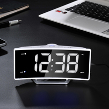 Radio Projection Table Alarm Clock Desk LED Mirror Electronic Luminous Table Clock Charging Display Clock(China)