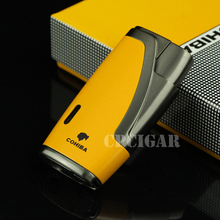 COHIBA Multifunctional Flame Lighter 1Torch Windproof Refillable Butane Gas Cigar jet Lighter w/ Built-in Cigar Punch w/Gift Box