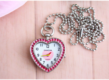 Luxury fashion Heart Design Fob Pendant Diamond crystal Pocket Watch With Necklace Chain Gift To Men Women