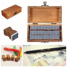 Creative 30pcs/bag Romantic Capital Letter Stamp Retro Vintage Alphabet Wooden Craft Box Rubber Stamp Sets
