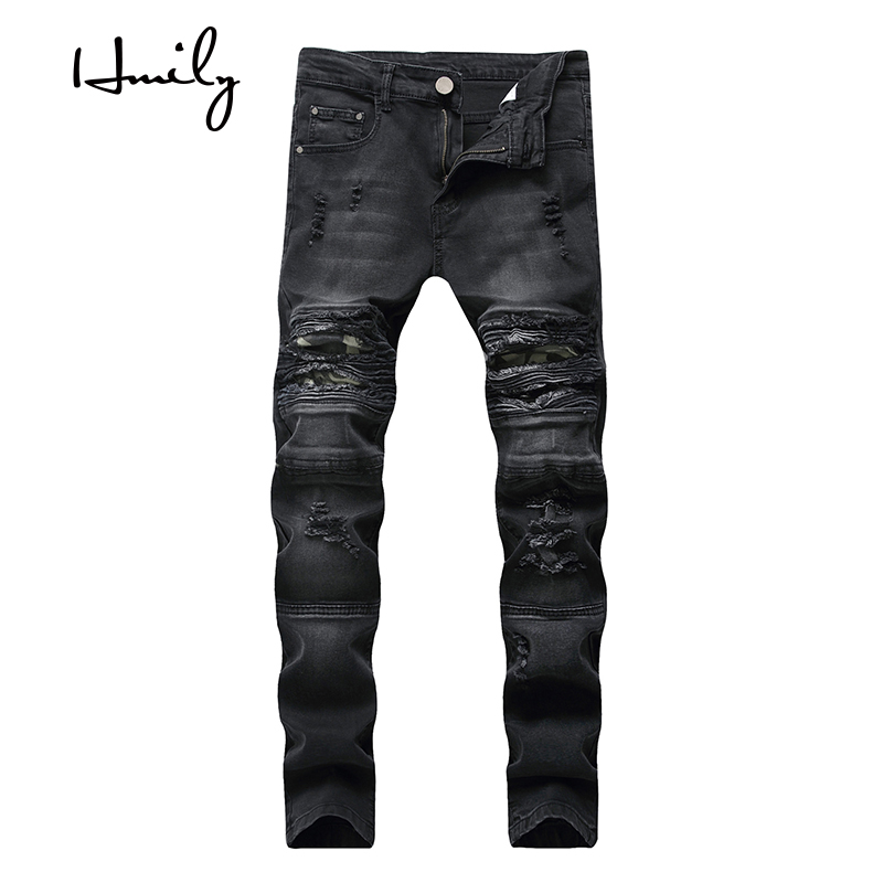 HMILY new men's jeans Ripped Holes pants Korean style elasticity casual trousers cool stretch man denim high quality pants