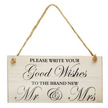 Wooden Good Wishes Wedding Sign Board Marriage Plaque Photo Props Wedding Party Events Hanging Decorative Crafts Accessories