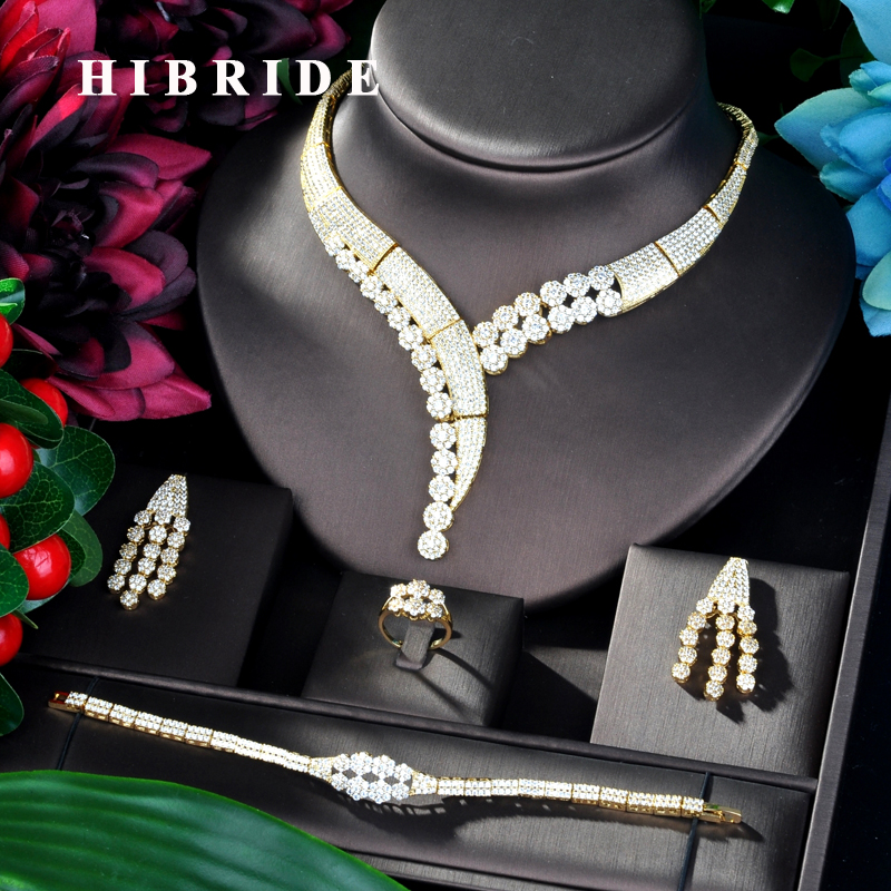 HIBRIDE Unique Design Gold Color  Dubai 4PCS Wedding Bridal Cubic Zircon Necklace Set Dress Jewelry Set For Party Gifts N-834