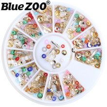 Cheap 240pcs Mix Beads Sequin Nail Art Decorations DIY Nails Accessoires 3D Nail Charms Steering-wheel Jewelry Box