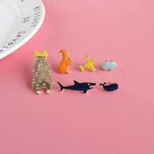 Free Shipping Cute Airplane Cloud Squirrel Fish Shark Whales Enamel Brooch Pin Bag Jeans Metal Badge Jewelry Wholesale(China)