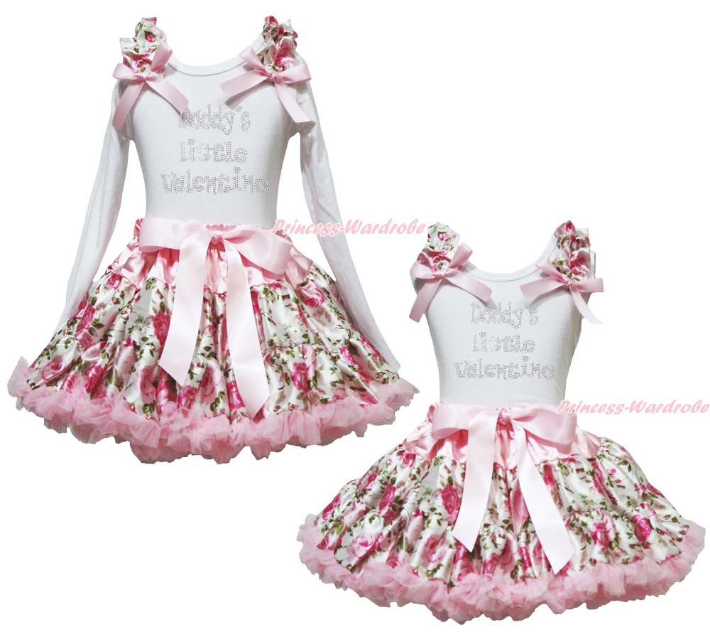 Daddy Little Valentine White Top Rose Floral Girl Pettskirt Skirt Outfit 1-8Year<br>