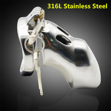 Buy 76mm*35mm 316L Stainless Steel Male Chastity Device Stealth Lock Cock Cage Penis Rings Sex Toy Chastity Belt Sex Product
