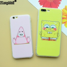 Lovely Fundas Coque Case For iphone 7 7Plus 6 6S PLus 5 5S SE Case Best Friend Sponge Bob Patrick Pink Pattern Phone Cases Cover