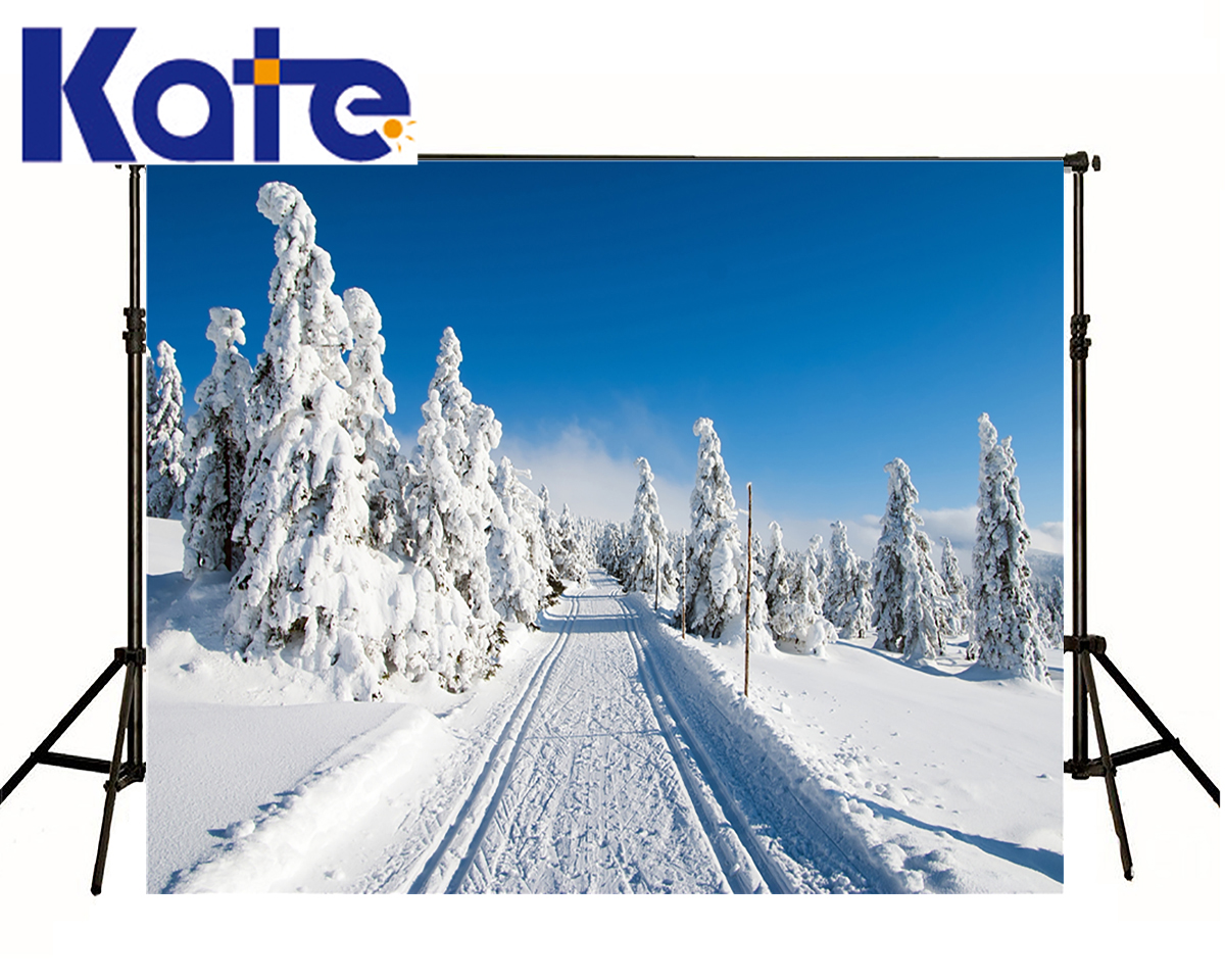 KATE Photo Backgrounds Orbit Snow Road Scenery Background Heavy Snow Forest Photography Backdrops For Photo Shoot Studio<br>