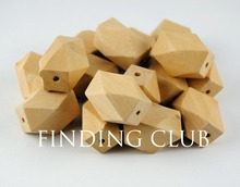 50pcs/lot 15x22mm natural unfinished 14 Hedron geometric wood beads jewelry /DIY wooden necklace WB02(China)