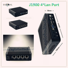 Eglobal Mini Computer Intel J1900 2GHz Quad Core Fanless Mini Pc Intel Celeron firewall j1900 4 lan Router Barebone Minipc