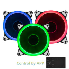 3pcs RGB Case Cooling Fan 120mm With Wifi Controller MobilePhone APP Fan Controller Adjustable LED Ring RGB Fan 6pin Triple Pack