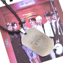 Lychee Hot KPOP Star BTS Titanium Steel Hangtag Pendant Necklace JUNG KOOK JIMIN V SUGA JHOPE Bangtan Boys Support Jewelry