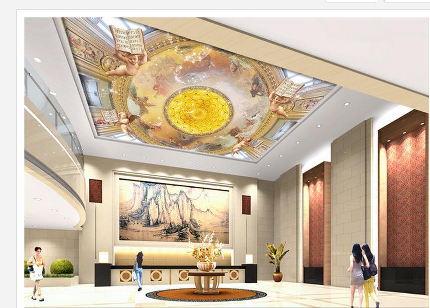 3d ceiling murals wallpaper European angel painting gold ceiling fresco Home Decoration custom 3d photo wallpaper<br><br>Aliexpress