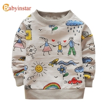 Babyinstar Kids T-shirts Cute Family Graffiti Boys T Shirt Long Sleeved Baby Girls Tops 2017 New Spring Qutumn Children's Tees