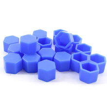 20pcs/set Blue Wheel Lug Bolt Nut Cap Valve Stem Cover Silicone Hexagonal Protector fit for 19mm Wheel Bolts or Nuts(China)