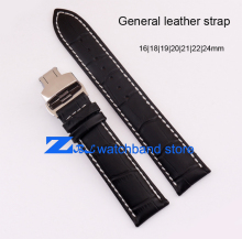 genuine leather bracelet General watchband strap Black 12 14mm 16 18 19 20 21 22 23 24 26mm watch band The butterfly buckle
